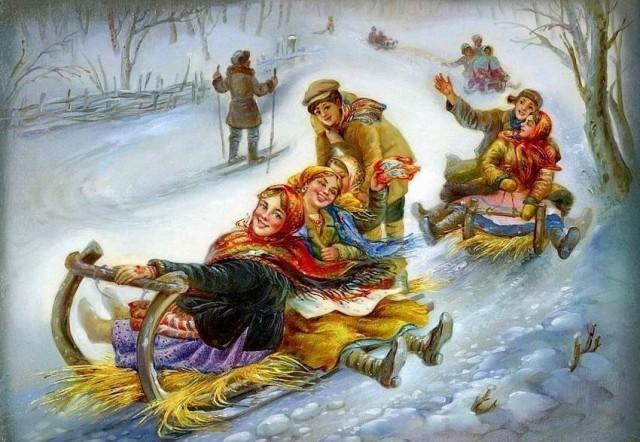 Катание с гор в святки, развлечения в святочные дни