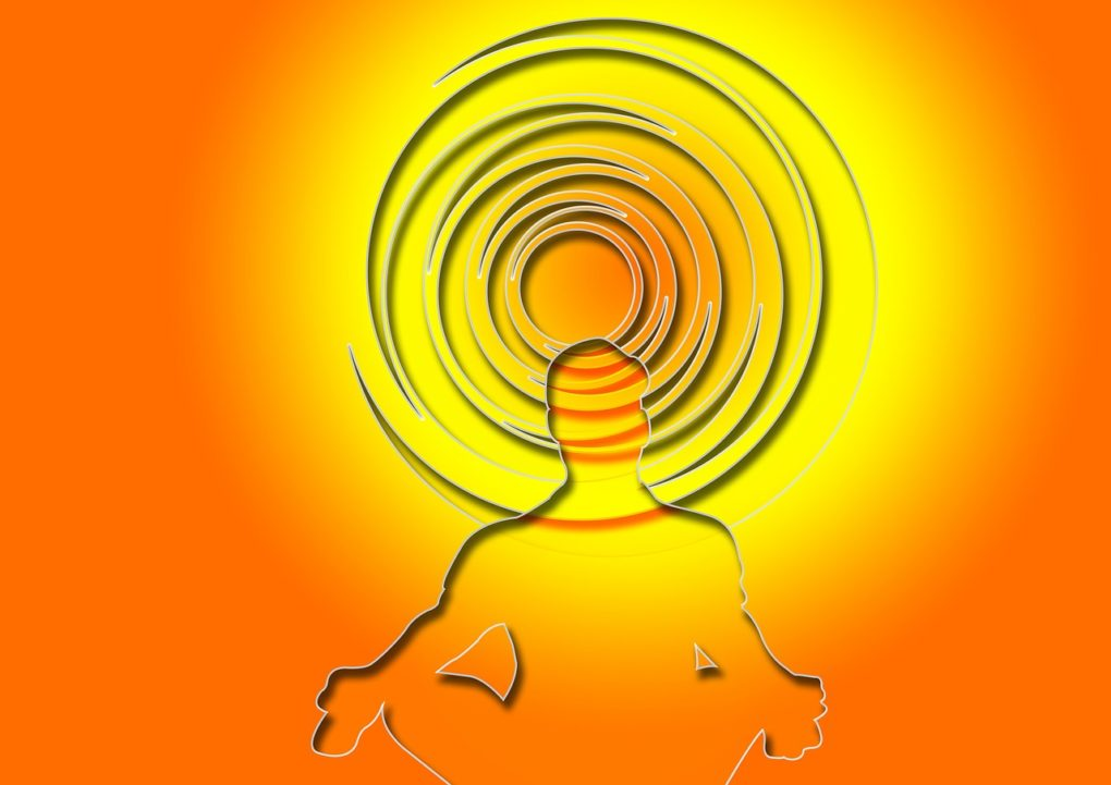 meditation, silhouettes, man